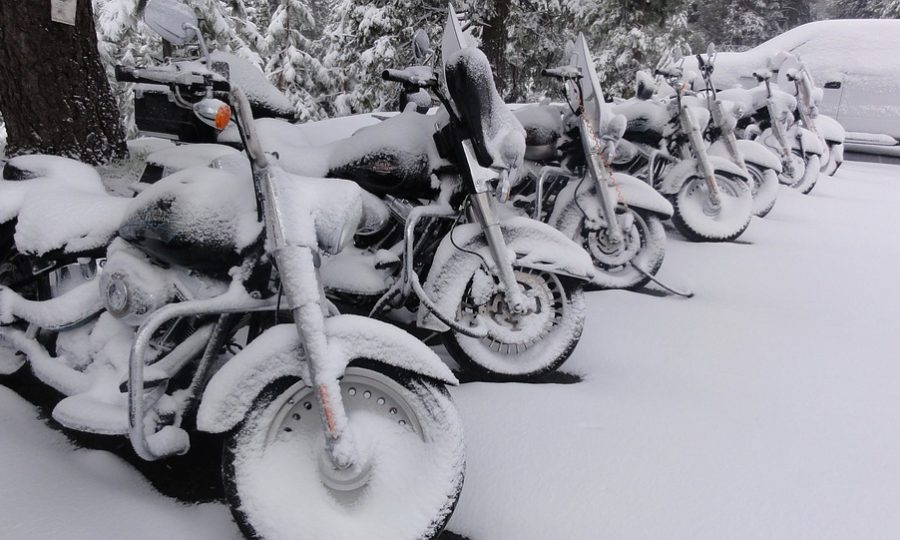 motorcycles covered in snow