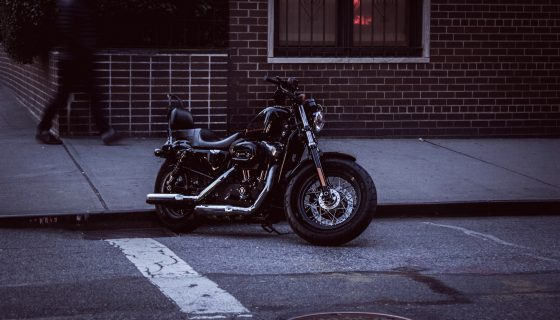 Motorcycle parked outside.